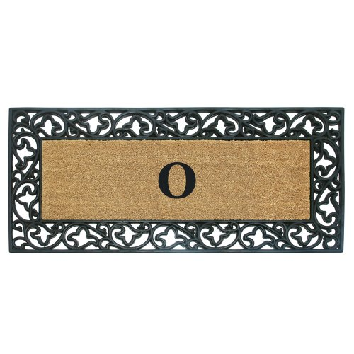 Creative Accents Acanthus Border With Rubber/Coir Doormat, 24 By 57-Inch, Monogrammed O front-32141