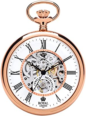 Royal London Pocket Watch 90049-03 Rose Gold Plated Open Face