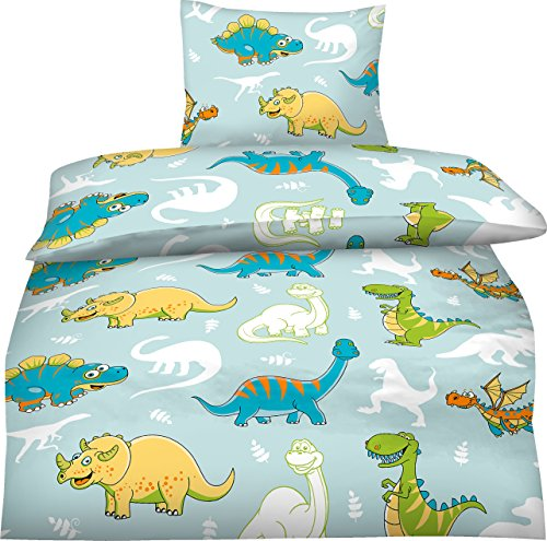 aminata kids niedliche jungen kinder bettw sche 135x200 fein biber dinosaurier dino bettw sche. Black Bedroom Furniture Sets. Home Design Ideas