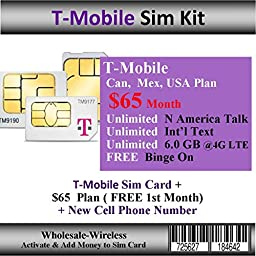 Activate-In 15 Mins T-mobile Sim + $65 Can, Mex, USA Plan ( Free 1st Month)