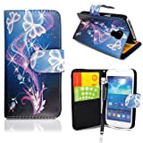 CONTINENTAL27 For Samsung Galaxy S4 Mini i9190 New Printed ULTRA BUTTERFLY STYLE 7 Book Type Pouch Side Opening With Card Slots Stylish PU Leather Horizontal Wallet Flip Magnetic Closure Secure Phone Case Cover WITH FREE STYLUS PEN & SCREEN GUARD