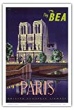 Paris - Notre Dame Cathedral by Moonlight - Fly BEA (British European Airways) - Vintage Airline Travel Poster by Daphne Padden c.1950s - Master Art Print - 12in x 18in