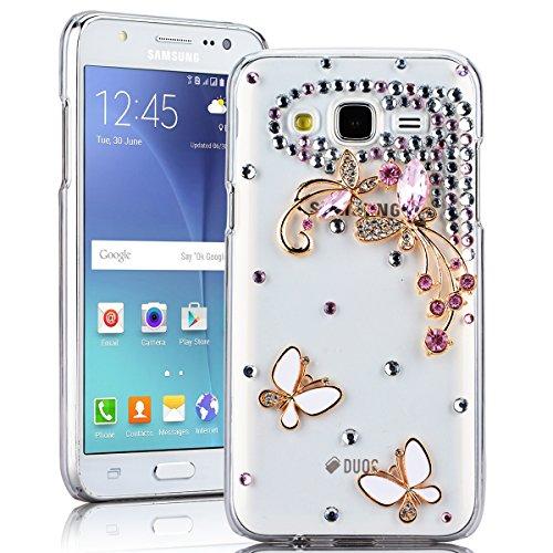 SMARTLEGEND Rigida Custodia per Samsung Galaxy J5(2015), Bling Glitter Diamante PC Hard Case Cover Bumper, Ultra Sottile Trasparente Duro Durevole Protettiva Caso con Disegno Elegante - Farfalla Bianca