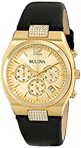 Bulova Women's 97M107 Crystal Analog Display Japanese Quartz Black Watch