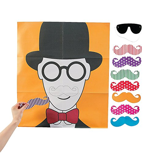 Pin the Flashy Stache Game - Mustache. Movember Party Games