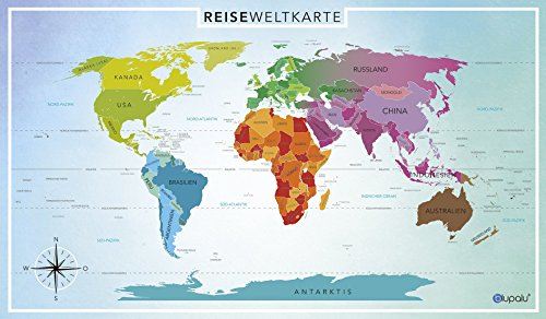 blupalu weltkarte world map poster f r pins gro xxl inkl f hnchen landkarte deutsch. Black Bedroom Furniture Sets. Home Design Ideas