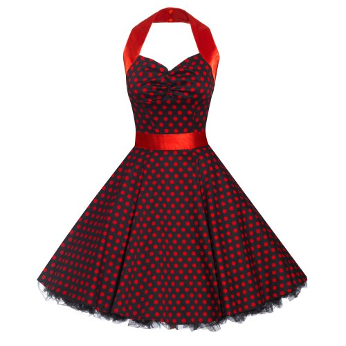 Ladies 50s Swing Black Red Polka Dot Retro Style Rockabilly