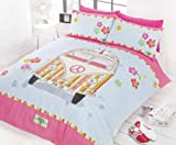 CAMPER VAN PINK SINGLE COTTON DUVET SET QUILT COVER #BUDEEV *RH*