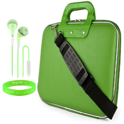 Cady Messenger Cube - Lime Green Ultra Durable Tactical Leather -Ette Bag Case Fits Samsung Galaxy Note Pro 12.2' Android Tablet + Green Hands-Free Earphone (Headphones With Microphone)