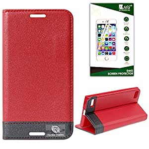 DMG BlackBerry Z3 Flip Cover, DMG PRaiders Premium Magnetic Wallet Stand Cover Case for BlackBerry Z3 (Red) + Matte Anti-Glare Screen Protector