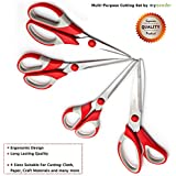 Best Multipurpose Scissors From mysonder - Set Of 4 - Soft Grip Ergonomic Handle - Strong & Durable Material - Ideal For Arts And Crafts, Office Stationery - Money-Back Guarantee