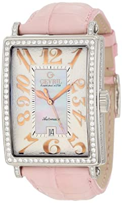 Gevril Women's 6208RV Glamour Diamond-Accented Stainless Steel Automatic Watch with Pink Crocodile Leather Band