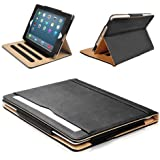 MOFRED® Black & Tan Apple iPad (Previous Generation iPads) Leather Case-MOFRED®- Executive Multi Function Leather Standby Case for Apple New iPad 4 (Retina Display) / iPad 3 / iPad 2 with Built-in magnet for Sleep & Awake Feature