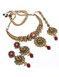 Kundan Necklace Set Cz Diamond Look Gemstone Indian Designer Stylish Latest One Gram Gold Plated Jewelry & Tika...