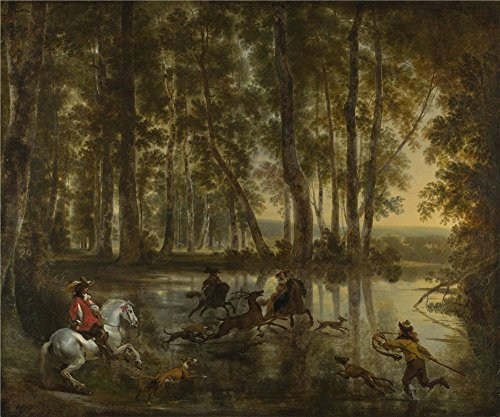 'Jan Hackaert And Nicolaes Berchem A Stag Hunt In A Forest ' Oil Painting, 10 X 12 Inch / 25 X 30 Cm ,printed On High Quality Polyster Canvas ,this Vivid Art Decorative Canvas Prints Is Perfectly Suitalbe For Powder Room Decor And Home Decoration And Gifts (Stag Arms Model 3 compare prices)