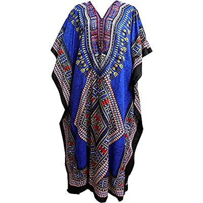 Bohemian Crepe Caftan Cover-Up Hippie Gypsy Chic #60 Royal Blue Dashiki Print