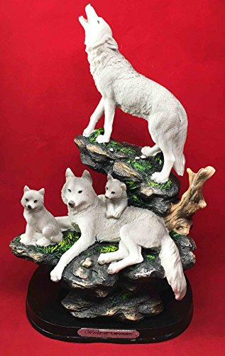 Full Moon Howling Alpha Wolf & Family Pack On Rock Figurine Timberwolves Decor (Full Moon Resin Statue compare prices)