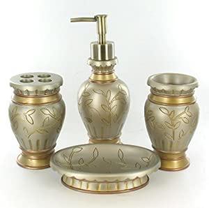 European style bathroom set gold sage soap for Sage bathroom accessories