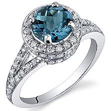 buy London Blue Topaz Halo Ring Sterling Silver Rhodium Nickel Finish 1.50 Carats Size 9