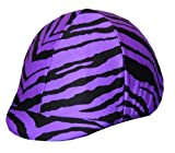 Equestrian Riding Helmet Cover - Purple Zebra