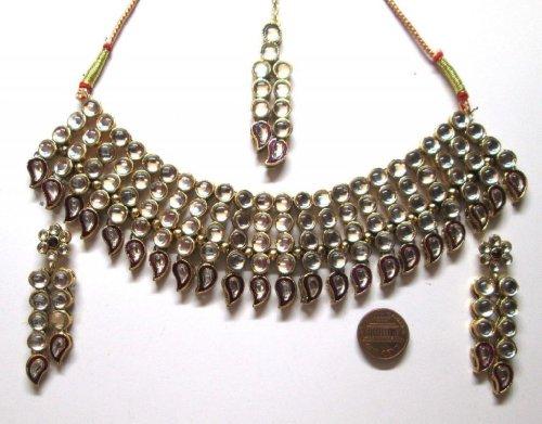 Purple Color Faux Golden Look 145 Gm 4 Pcs Necklace Earring Tikka American Style Set Dsct0Zd