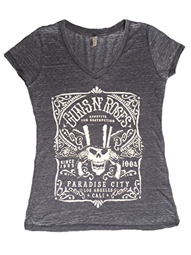 Guns & Roses Paradise City Grey VNeck T-Shirt - S to XL