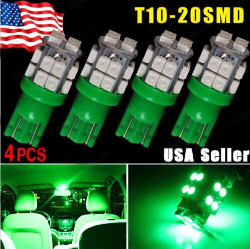 Focuslife 4 x T10 W5W 2825 192 194 168 Vivid Green 20 SMD LED Side Wedge Light Bulb 12V (T10 Led Bulb Green compare prices)