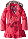 Pink Platinum Girls 2-6X Double Leopard Trench Rain Jacket, Fuchsia, 6X
