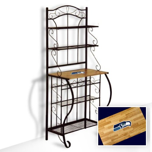 New Black Metal Finish Bakers Rack With Oak Finish Wooden Shelf Featuring Seattle Seahawks Nfl Team Logo Also Includes Free Oven Mit!