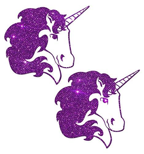 Unicorn: Purple Glitter Unicorn on White Nipple Pasties o/s