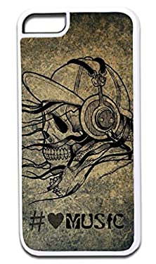 buy Hashtag Love Music Skull Art- Case For The Apple Iphone 5C Only!!! -Hard White Plastic Outer Case With Tough Black Rubber Lining