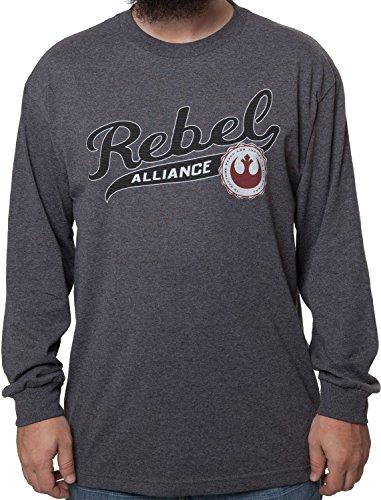 Men's Star Wars Rebel Alliance Long Sleeve Shirt Charcoal Heather Large (Rebel Alliance Star Wars)