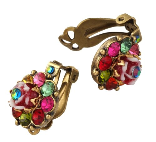 Charming Floral Michal Negrin Clip Earrings Decorated with a Hand Painted Vintage Flower and Multicolor Swarovski Crystals