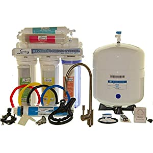 iSpring 75GPD 6-Stage Reverse Osmosis Alkaline Mineral Water Filter System with Brushed Nickel Faucet, Model RCC7AK