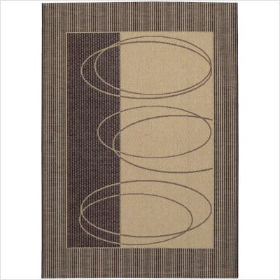 """2' x 3'7"""" Area Rug Geometric Oval Pattern in Brown and Cream"""