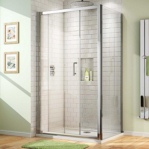 1100 x 760mm Sliding Glass Door Corner Shower Enclosure with Side Panel + Tray Set