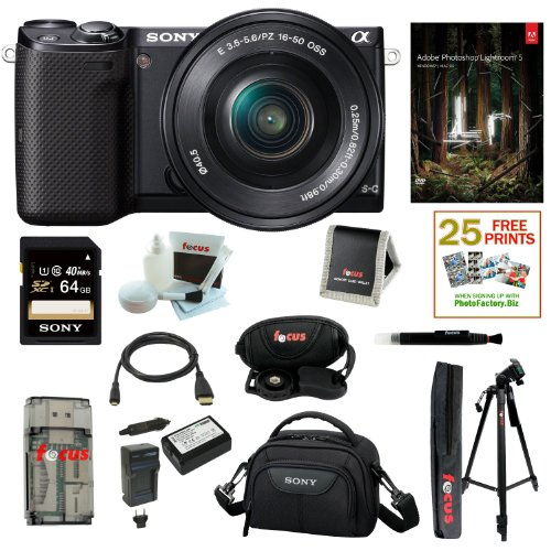 Sony NEX5T, NEX-5TL/B 16 MP Compact Interchangeable Lens Digital Camera Kit with 16-50mm Power Zoom Lens (Black) + Adobe Photoshop Lightroom 5 + Wasabi Power Battery for Sony NP-FW50 and Sony Alpha one battery and charger + Sony 64GB SD card + Deluxe Kit