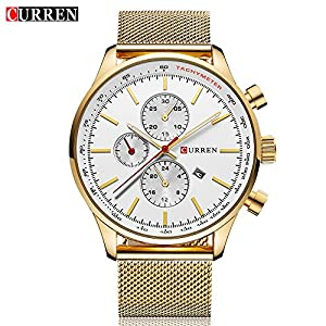 CURREN 8227 Men's Luxury Quartz Watch for Men with Black Dial Black Stainless Steel Strap