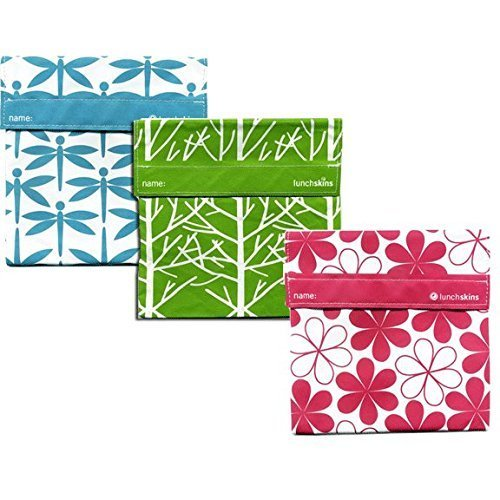 Lunchskins 3pk Reusable Sandwich Bags: Dragonfly Tree Flower - 1