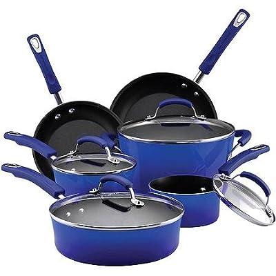 NEW Rachael Ray 10-piece Porcelain Enamel Cookware Set Nonstick Pans Pots - Rachael Ray 10 Piece Cookware Set