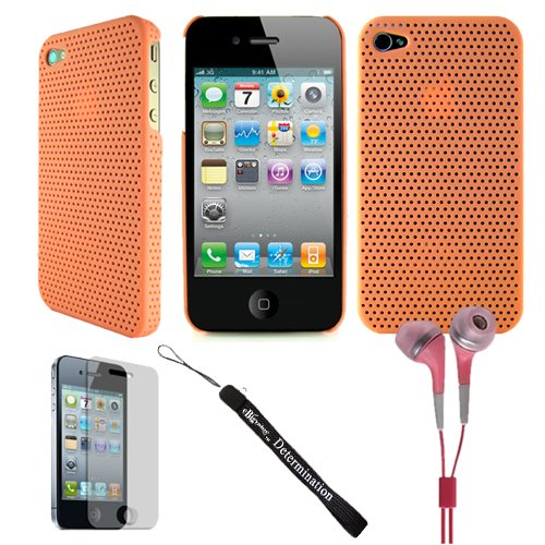 Aero Air Mesh Design Custom Style Durable For Apple Iphone 4 + Determination Hand Strap + Hd Earbuds (3.5Mm Jack)
