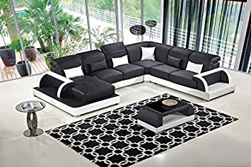 5pc Modern Contemporary Adjustable Sectional Leather Sofa Set - AM-LD811-BK