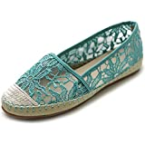Ollio Women's Ballet Shoe Breathable Floral Lace Flat