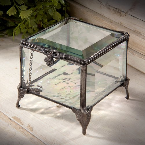 J Devlin Decorative 3x3 Beveled Glass Keepsake/storage/jewelry Box