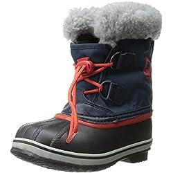 Sorel YOOT PAC NYLON, Unisex-Kinder Warm gefütterte Schneestiefel, Blau (Collegiate Navy, Sail Red 464), 33 EU