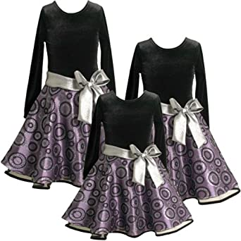 Size-4T BNJ-9459X PURPLE SILVER FLOCK RING GLITTER DOT DROP WAIST Special Occasion Wedding Flower Girl Holiday Party Dress,X29459 Bonnie Jean TODDLERS