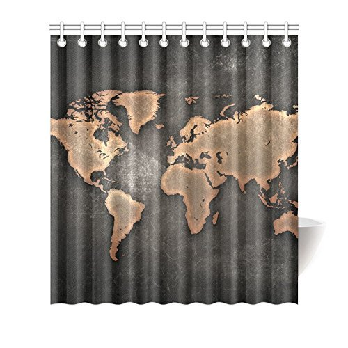 Funny old vintage world map shower curtain new top bathroom shower curtains polyester - Old world map shower curtain ...
