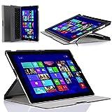 Surface Pro 3 ケース - ATiC Microsoft Surface Pro 3 12インチタブレット専用三つ折二段階調整可能薄型スタンドケース  BLACK