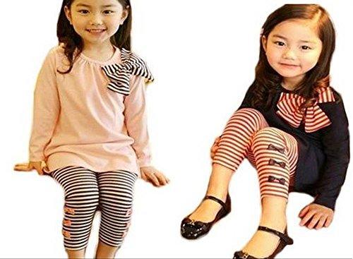 ANEs&ANE fashion girl must see Ribbon stripe tunic leggings pants set up (Navy 100)