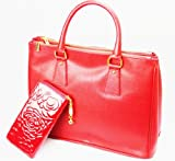 Prada inspired Pillar Box Red Genuine Italian Leather Handbag, Shoulder Bag or Work Bag With Free Gift Wallet